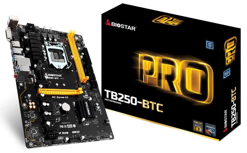материнская плата на 12 видеокарт Biostar TB250-BTC
