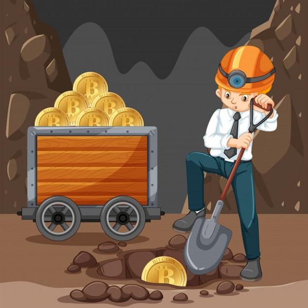 шахтер копает крипту